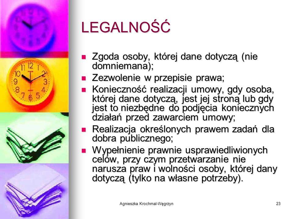 Agnieszka Krochmal-Węgrzyn23 LEGALNOŚĆ Zgoda osoby, której dane dotyczą (nie domniemana); Zgoda osoby, której dane dotyczą (nie domniemana); Zezwoleni