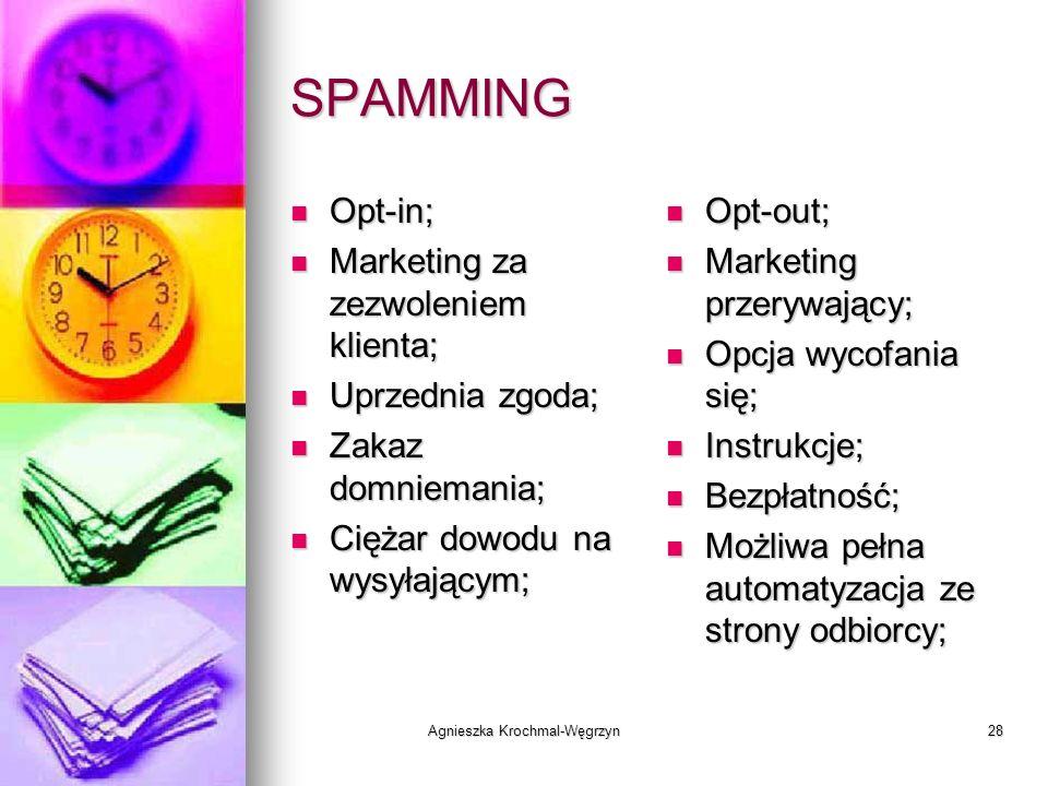 Agnieszka Krochmal-Węgrzyn28 SPAMMING Opt-in; Opt-in; Marketing za zezwoleniem klienta; Marketing za zezwoleniem klienta; Uprzednia zgoda; Uprzednia z