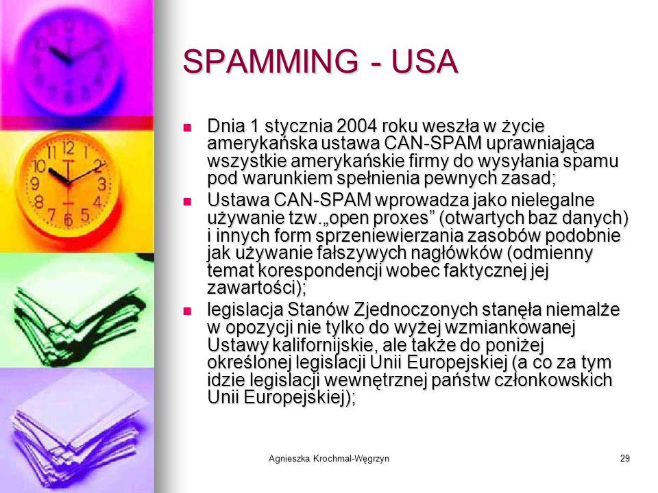 Agnieszka Krochmal-Węgrzyn29 SPAMMING - USA Dnia 1 stycznia 2004 roku weszła w życie amerykańska ustawa CAN-SPAM uprawniająca wszystkie amerykańskie f