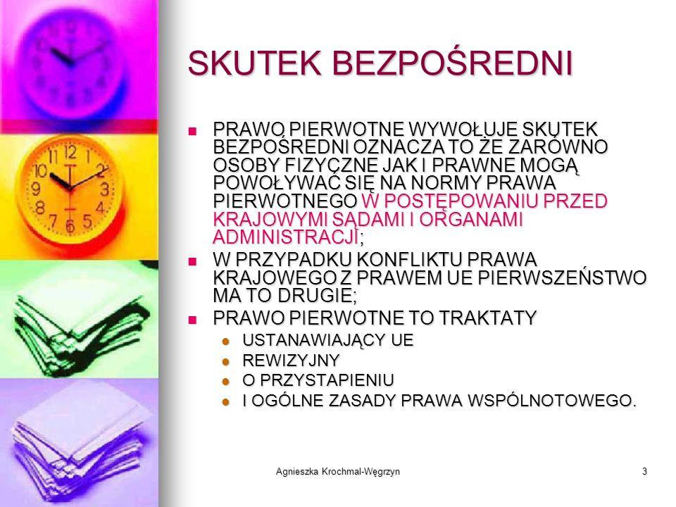 Agnieszka Krochmal-Węgrzyn3 SKUTEK BEZPOŚREDNI PRAWO PIERWOTNE WYWOŁUJE SKUTEK BEZPOŚREDNI OZNACZA TO ŻE ZARÓWNO OSOBY FIZYCZNE JAK I PRAWNE MOGĄ POWO
