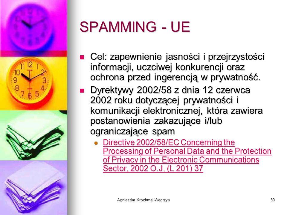 Agnieszka Krochmal-Węgrzyn30 SPAMMING - UE Cel: zapewnienie jasności i przejrzystości informacji, uczciwej konkurencji oraz ochrona przed ingerencją w
