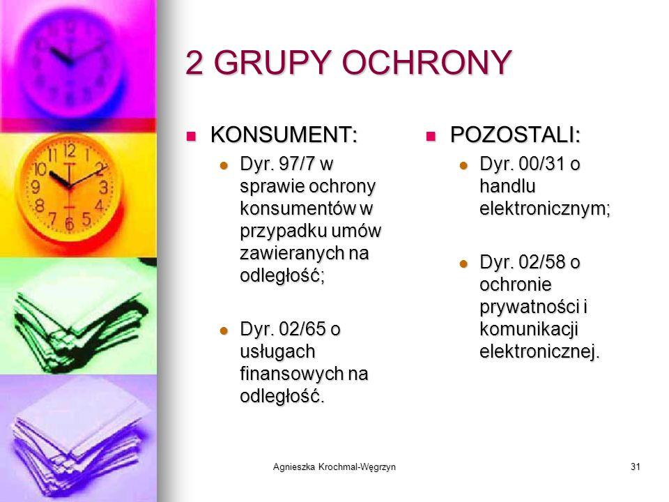 Agnieszka Krochmal-Węgrzyn31 2 GRUPY OCHRONY KONSUMENT: KONSUMENT: Dyr. 97/7 w sprawie ochrony konsumentów w przypadku umów zawieranych na odległość;