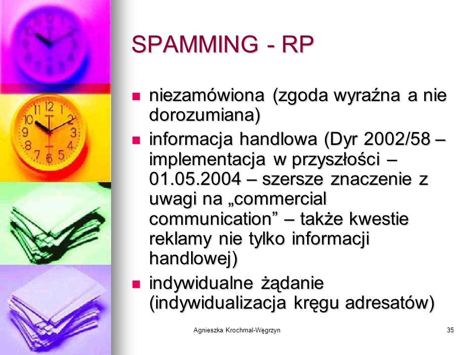 Agnieszka Krochmal-Węgrzyn35 SPAMMING - RP niezamówiona (zgoda wyraźna a nie dorozumiana) niezamówiona (zgoda wyraźna a nie dorozumiana) informacja ha