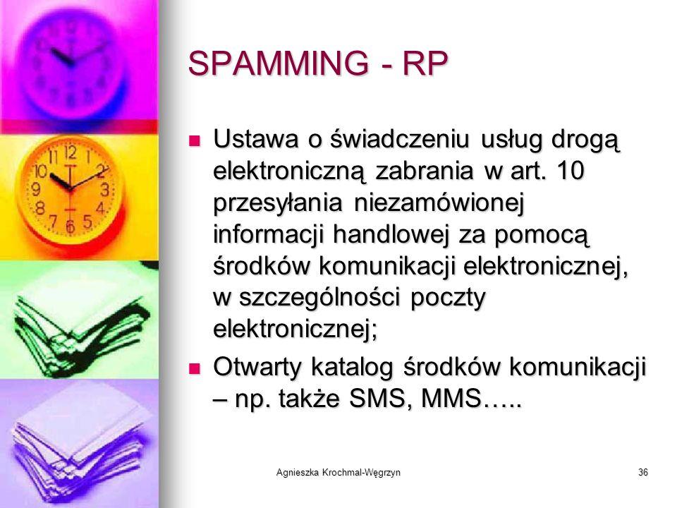 Agnieszka Krochmal-Węgrzyn36 SPAMMING - RP Ustawa o świadczeniu usług drogą elektroniczną zabrania w art. 10 przesyłania niezamówionej informacji hand