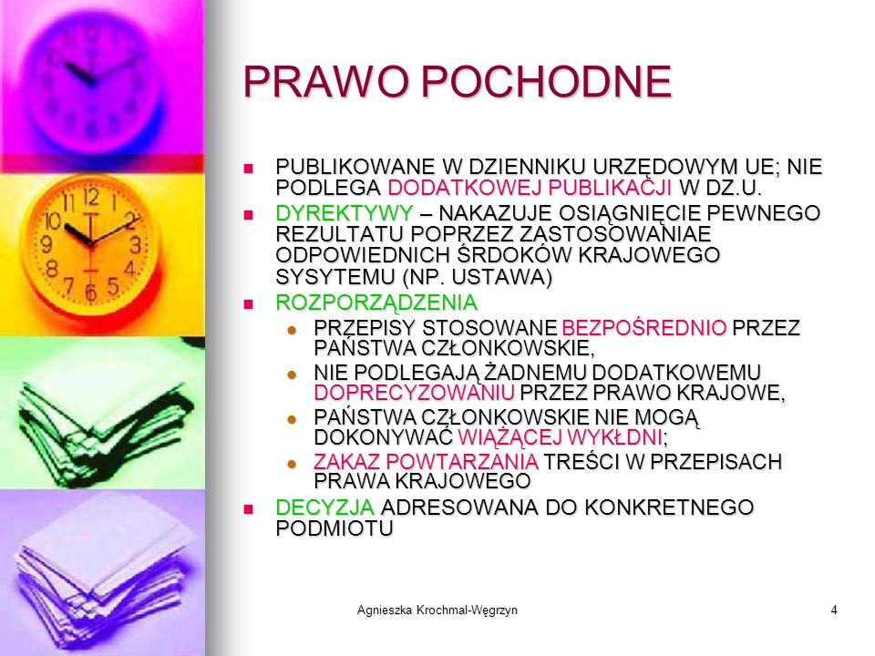 Agnieszka Krochmal-Węgrzyn4 PRAWO POCHODNE PUBLIKOWANE W DZIENNIKU URZĘDOWYM UE; NIE PODLEGA DODATKOWEJ PUBLIKACJI W DZ.U. PUBLIKOWANE W DZIENNIKU URZ