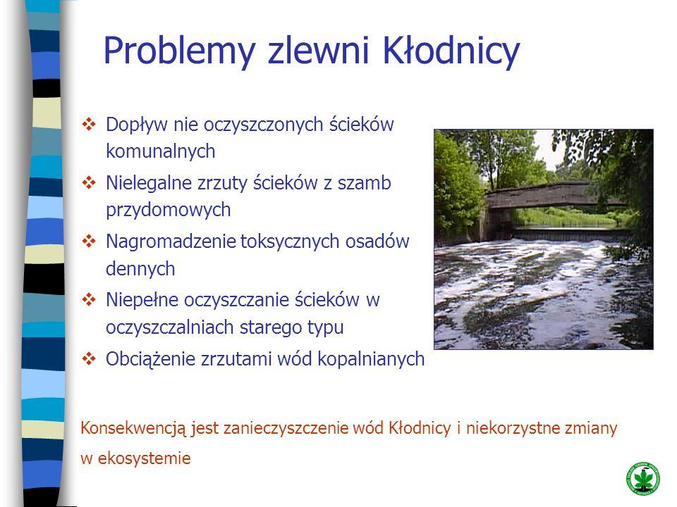 Problemy zlewni Kłodnicy Dopływ nie oczyszczonych ścieków komunalnych Nielegalne zrzuty ścieków z szamb przydomowych Nagromadzenie toksycznych osadów