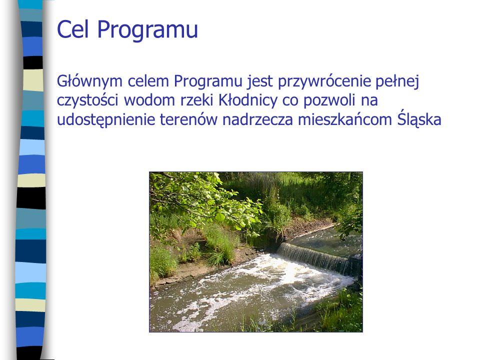 Cel Programu Głównym celem Programu jest przywrócenie pełnej czystości wodom rzeki Kłodnicy co pozwoli na udostępnienie terenów nadrzecza mieszkańcom