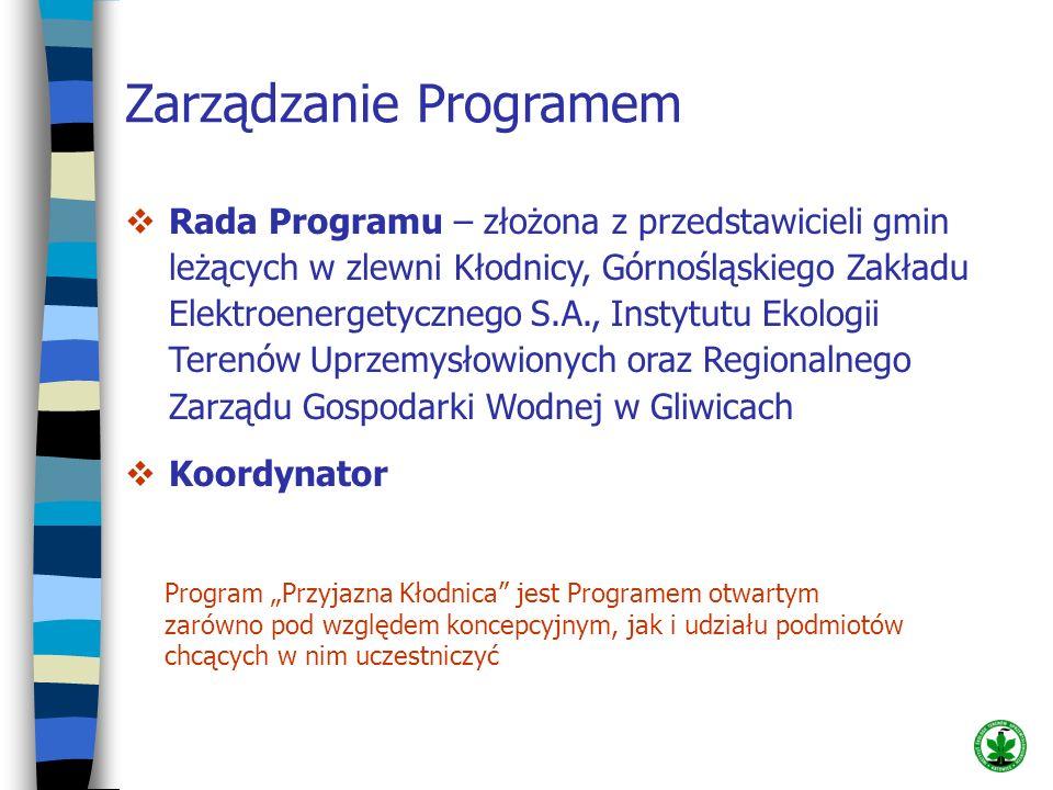 Zarządzanie Programem Rada Programu – złożona z przedstawicieli gmin leżących w zlewni Kłodnicy, Górnośląskiego Zakładu Elektroenergetycznego S.A., In
