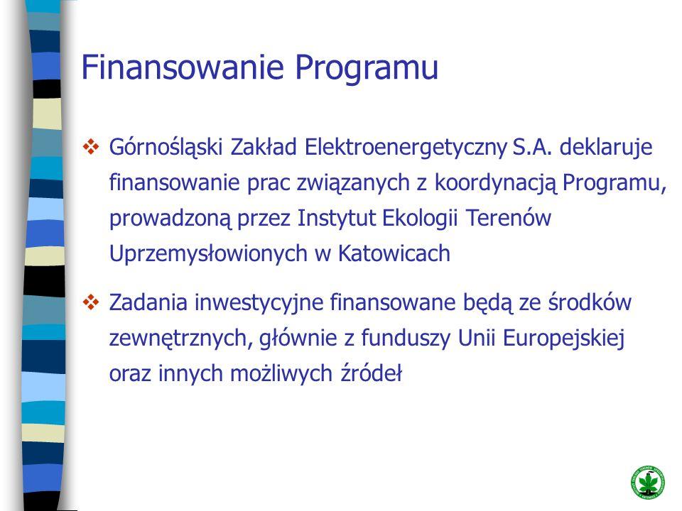 Finansowanie Programu Górnośląski Zakład Elektroenergetyczny S.A. deklaruje finansowanie prac związanych z koordynacją Programu, prowadzoną przez Inst
