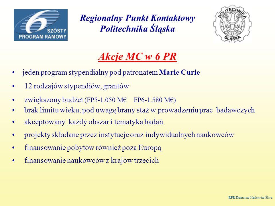 Regionalny Punkt Kontaktowy Politechnika Śląska Akcje MC w 6 PR jeden program stypendialny pod patronatem Marie Curie 12 rodzajów stypendiów, grantów zwiększony budżet (FP5-1.050 M FP6-1.580 M) brak limitu wieku, pod uwagę brany staż w prowadzeniu prac badawczych akceptowany każdy obszar i tematyka badań projekty składane przez instytucje oraz indywidualnych naukowców finansowanie pobytów również poza Europą finansowanie naukowców z krajów trzecich RPK Katarzyna Markiewicz-Śliwa