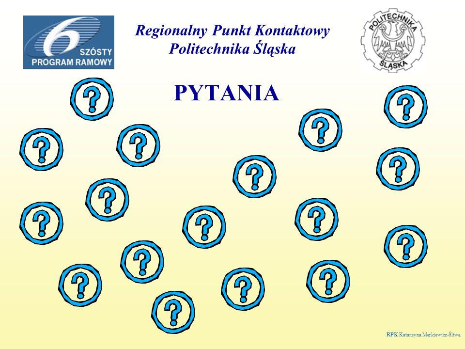 Regionalny Punkt Kontaktowy Politechnika Śląska RPK Katarzyna Markiewicz-Śliwa PYTANIA