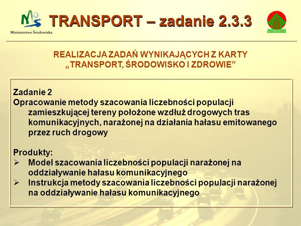 REALIZACJA ZADAŃ WYNIKAJĄCYCH Z KARTY TRANSPORT, ŚRODOWISKO I ZDROWIE TRANSPORT – zadanie 2.3.3 Zadanie 2 Opracowanie metody szacowania liczebności po