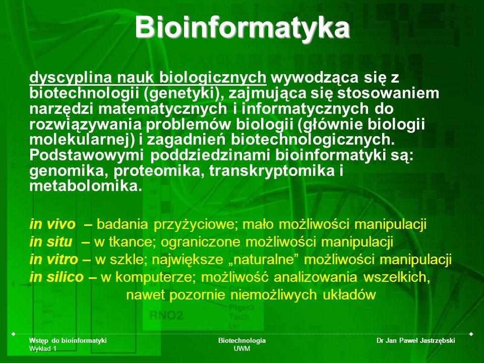 Wstęp do bioinformatyki Wykład 1 Biotechnologia UWM Dr Jan Paweł JastrzębskiBioinformatyka dyscyplina nauk biologicznych wywodząca się z biotechnologi