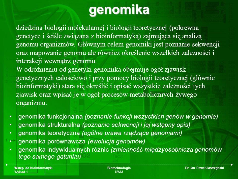 Wstęp do bioinformatyki Wykład 1 Biotechnologia UWM Dr Jan Paweł Jastrzębskigenomika genomika funkcjonalna (poznanie funkcji wszystkich genów w genomi
