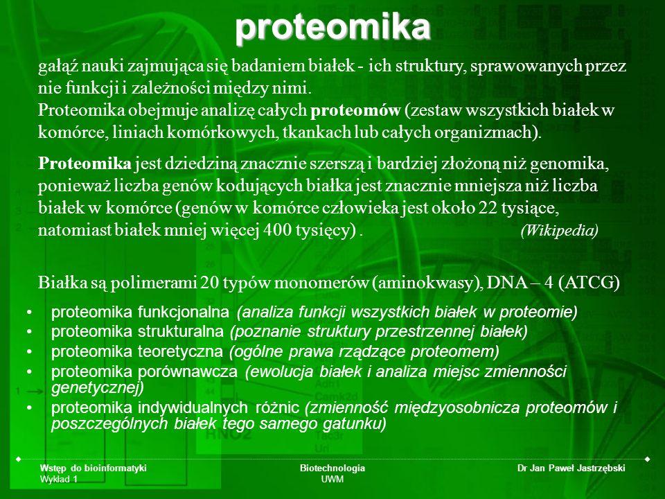 Wstęp do bioinformatyki Wykład 1 Biotechnologia UWM Dr Jan Paweł Jastrzębski Transkryptomika - jest to dziedzina, za pomocą której określane jest miejsce i czas aktywności genów poprzez badanie transkryptomu, czyli ogółu cząsteczek mRNA znajdujących się w danym momencie w komórce.