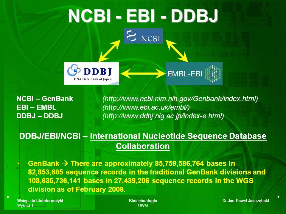 Wstęp do bioinformatyki Wykład 1 Biotechnologia UWM Dr Jan Paweł Jastrzębski NCBI - EBI - DDBJ GenBank There are approximately 85,759,586,764 bases in