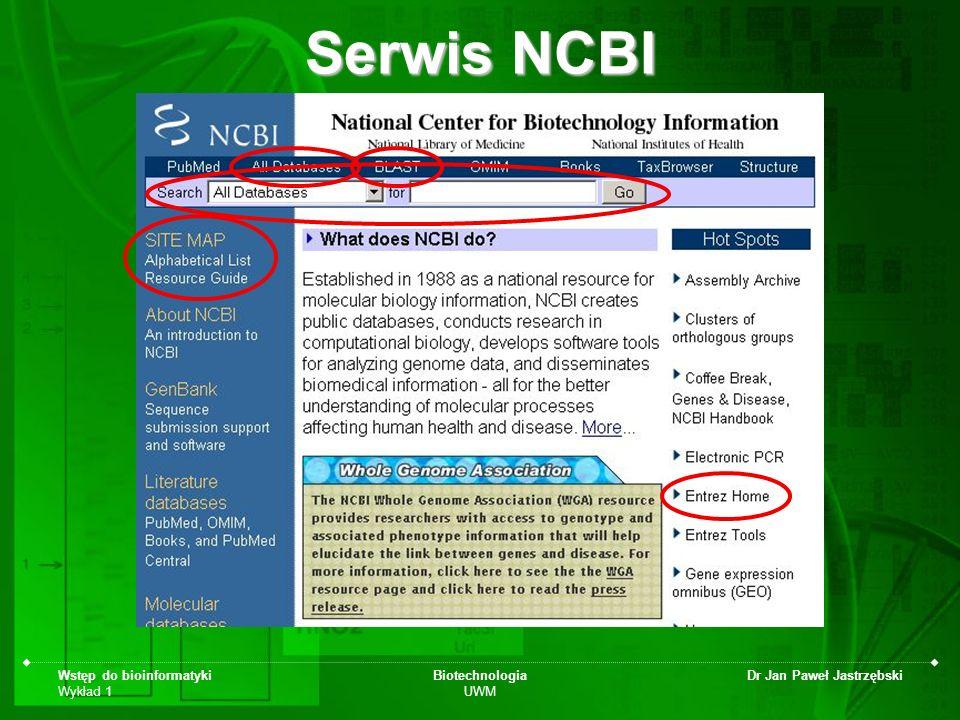 Wstęp do bioinformatyki Wykład 1 Biotechnologia UWM Dr Jan Paweł Jastrzębski Serwis NCBI