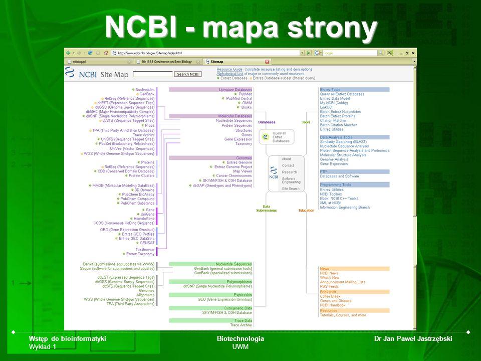 Wstęp do bioinformatyki Wykład 1 Biotechnologia UWM Dr Jan Paweł Jastrzębski NCBI - mapa strony