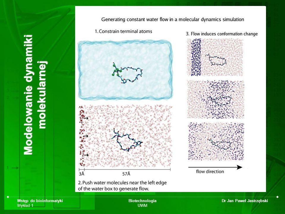 Wstęp do bioinformatyki Wykład 1 Biotechnologia UWM Dr Jan Paweł Jastrzębski Modelowanie dynamiki molekularnej