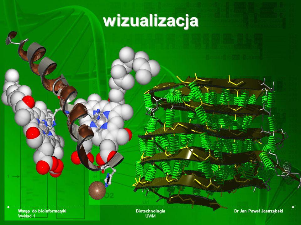 Wstęp do bioinformatyki Wykład 1 Biotechnologia UWM Dr Jan Paweł Jastrzębskiwizualizacja