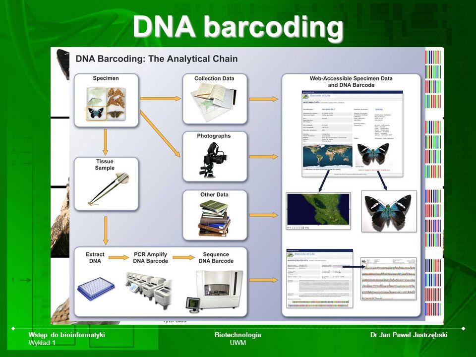 Wstęp do bioinformatyki Wykład 1 Biotechnologia UWM Dr Jan Paweł Jastrzębski DNA barcoding