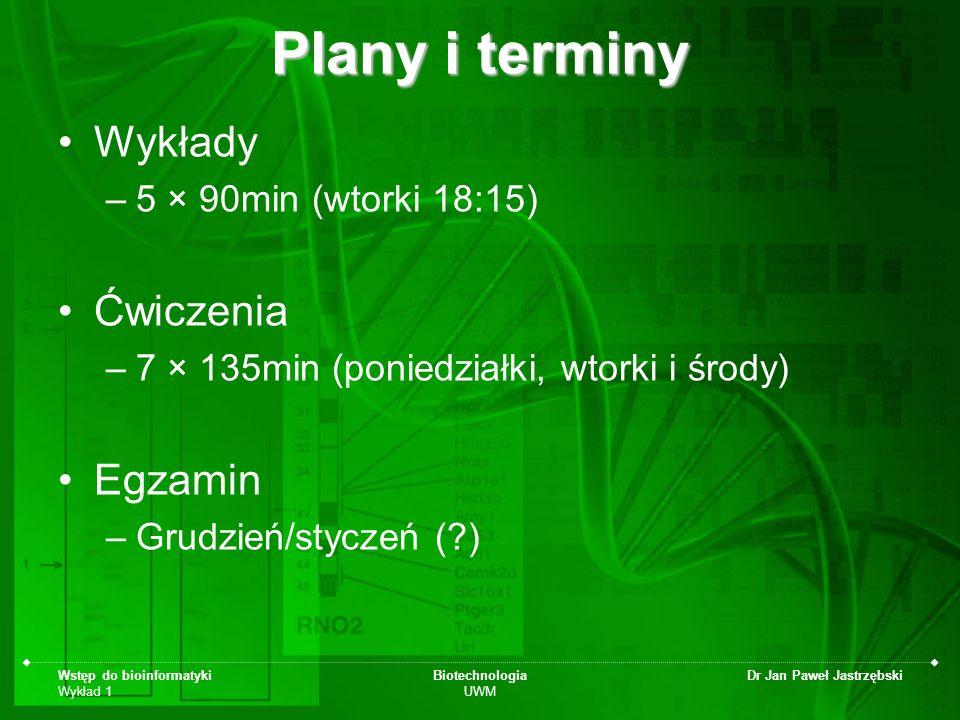 Wstęp do bioinformatyki Wykład 1 Biotechnologia UWM Dr Jan Paweł Jastrzębski Plany i terminy Wykłady –5 × 90min (wtorki 18:15) Ćwiczenia –7 × 135min (