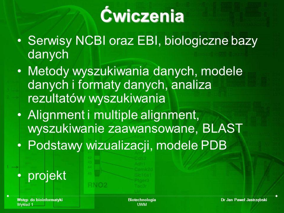 Wstęp do bioinformatyki Wykład 1 Biotechnologia UWM Dr Jan Paweł JastrzębskiĆwiczenia Serwisy NCBI oraz EBI, biologiczne bazy danych Metody wyszukiwan