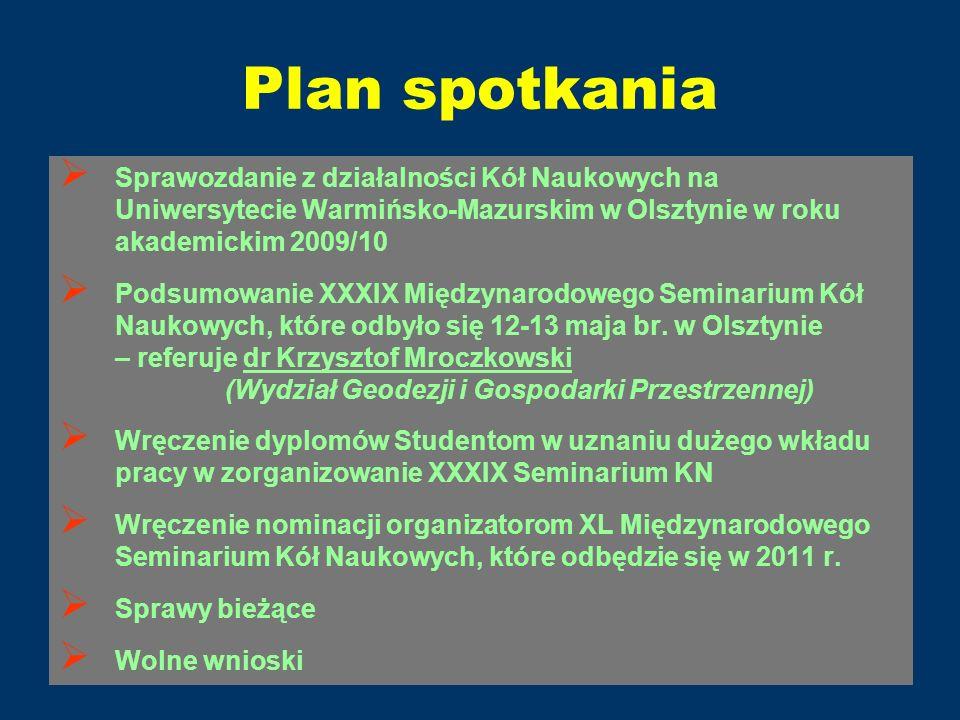 Plan spotkania Sprawozdanie z działalności Kół Naukowych na Uniwersytecie Warmińsko-Mazurskim w Olsztynie w roku akademickim 2009/10 Podsumowanie XXXI