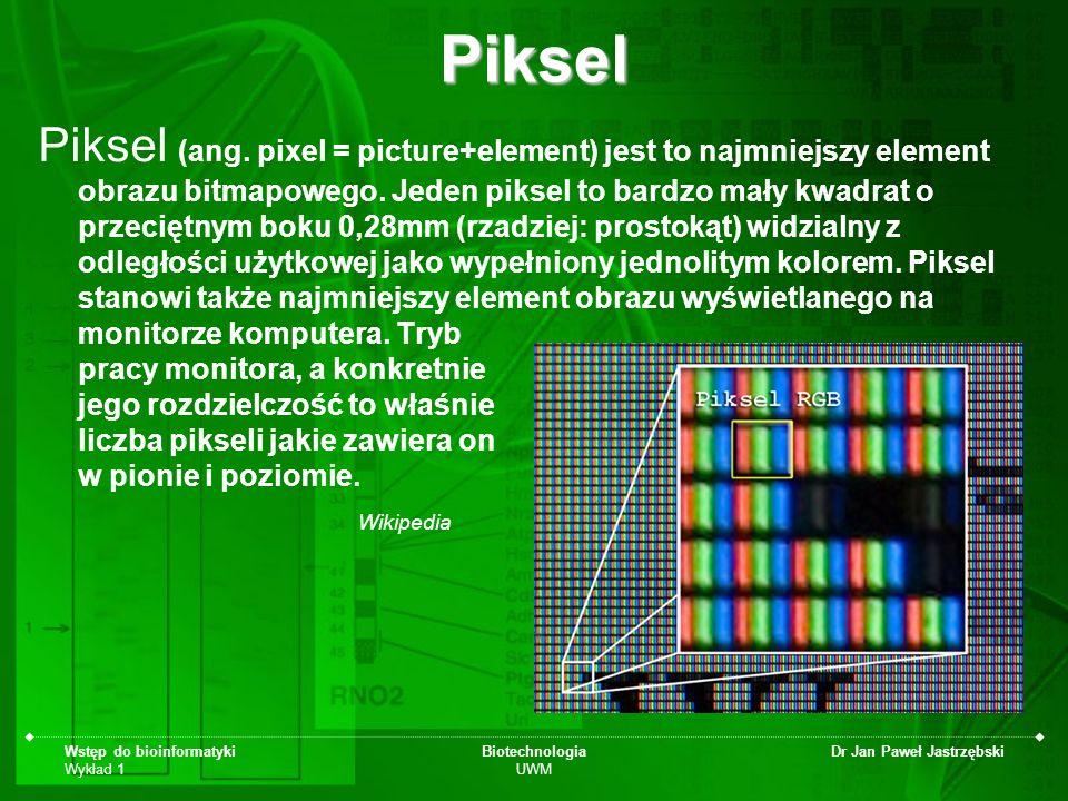 Wstęp do bioinformatyki Wykład 1 Biotechnologia UWM Dr Jan Paweł JastrzębskiPiksel Piksel (ang. pixel = picture+element) jest to najmniejszy element o