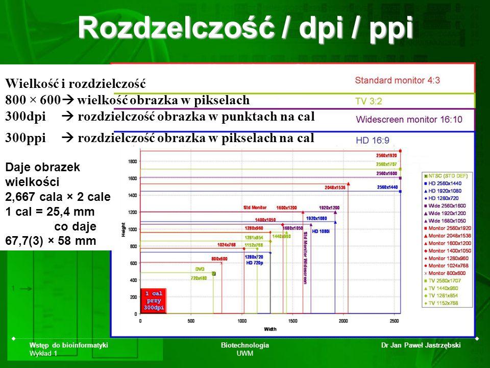 Wstęp do bioinformatyki Wykład 1 Biotechnologia UWM Dr Jan Paweł Jastrzębski Daje obrazek wielkości 2,667 cala × 2 cale 1 cal = 25,4 mm co daje 67,7(3