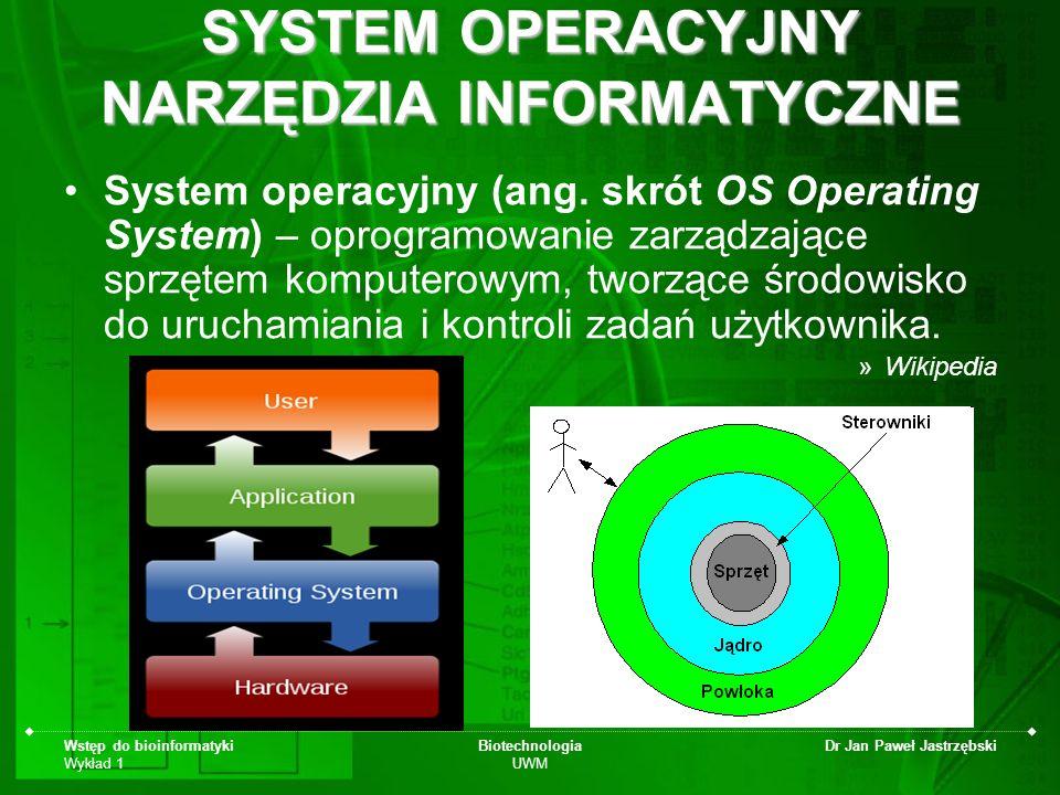 Wstęp do bioinformatyki Wykład 1 Biotechnologia UWM Dr Jan Paweł Jastrzębski SYSTEM OPERACYJNY NARZĘDZIA INFORMATYCZNE System operacyjny (ang. skrót O