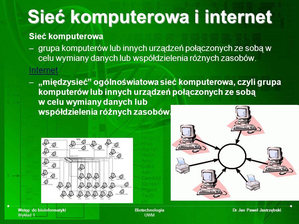 Wstęp do bioinformatyki Wykład 1 Biotechnologia UWM Dr Jan Paweł Jastrzębski Sieć komputerowa –grupa komputerów lub innych urządzeń połączonych ze sob