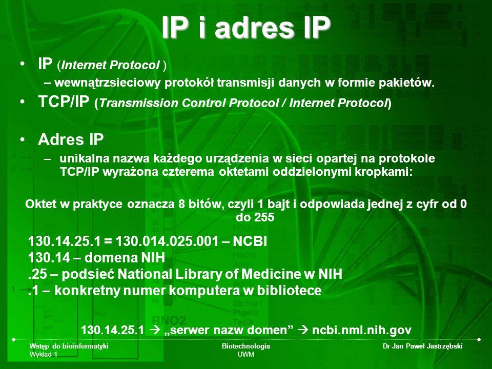 Wstęp do bioinformatyki Wykład 1 Biotechnologia UWM Dr Jan Paweł Jastrzębski IP i adres IP IP (Internet Protocol ) – wewnątrzsieciowy protokół transmi