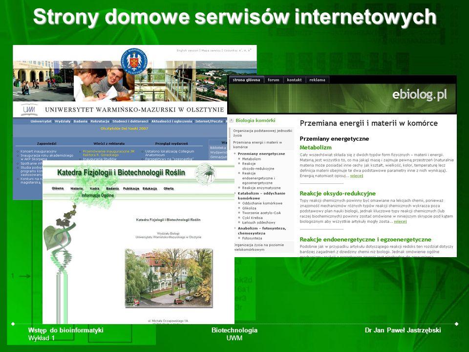 Wstęp do bioinformatyki Wykład 1 Biotechnologia UWM Dr Jan Paweł Jastrzębski Strony domowe serwisów internetowych