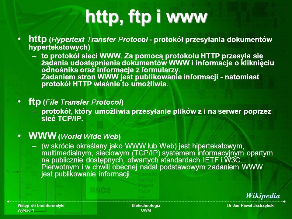 Wstęp do bioinformatyki Wykład 1 Biotechnologia UWM Dr Jan Paweł Jastrzębski http, ftp i www http (Hypertext Transfer Protocol - protokół przesyłania