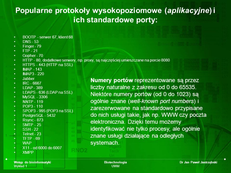 Wstęp do bioinformatyki Wykład 1 Biotechnologia UWM Dr Jan Paweł Jastrzębski Popularne protokoły wysokopoziomowe (aplikacyjne) i ich standardowe porty