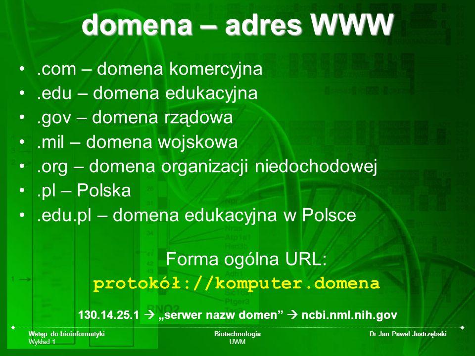 Wstęp do bioinformatyki Wykład 1 Biotechnologia UWM Dr Jan Paweł Jastrzębski domena – adres WWW.com – domena komercyjna.edu – domena edukacyjna.gov –