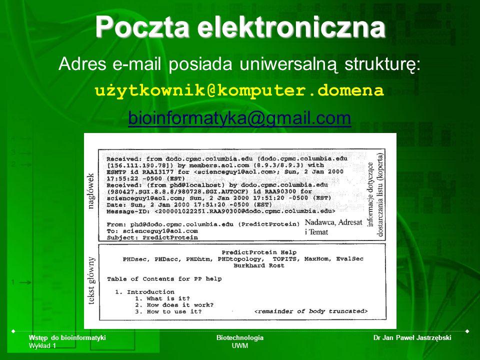 Wstęp do bioinformatyki Wykład 1 Biotechnologia UWM Dr Jan Paweł Jastrzębski Poczta elektroniczna Adres e-mail posiada uniwersalną strukturę: użytkown