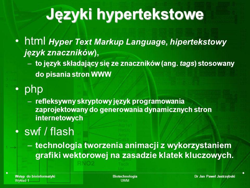 Wstęp do bioinformatyki Wykład 1 Biotechnologia UWM Dr Jan Paweł Jastrzębski Języki hypertekstowe html Hyper Text Markup Language, hipertekstowy język