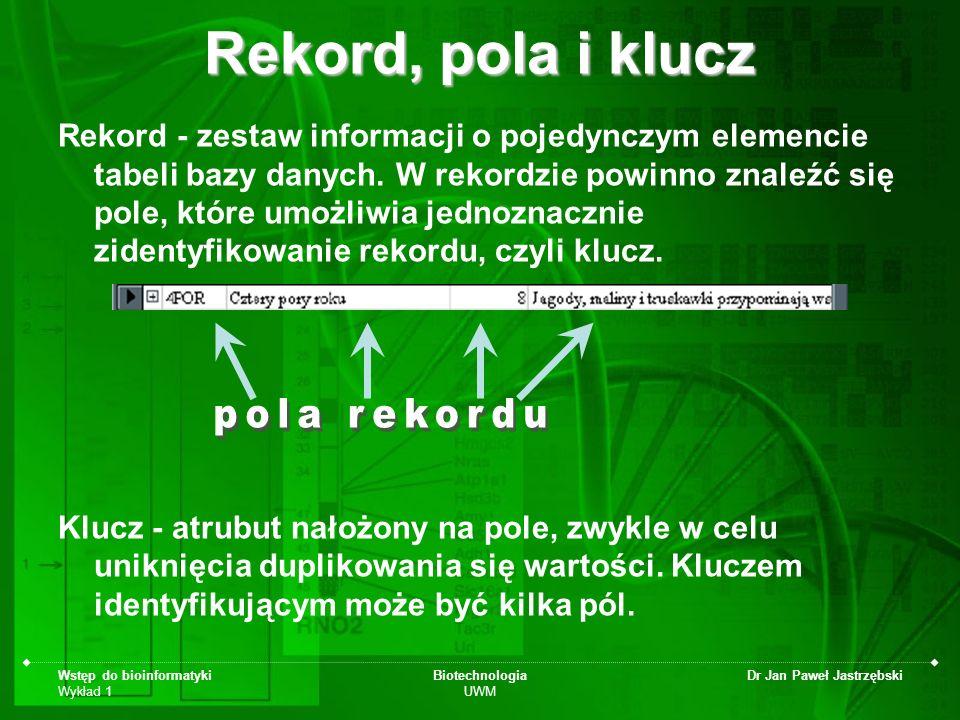 Wstęp do bioinformatyki Wykład 1 Biotechnologia UWM Dr Jan Paweł Jastrzębski Rekord, pola i klucz Rekord - zestaw informacji o pojedynczym elemencie t