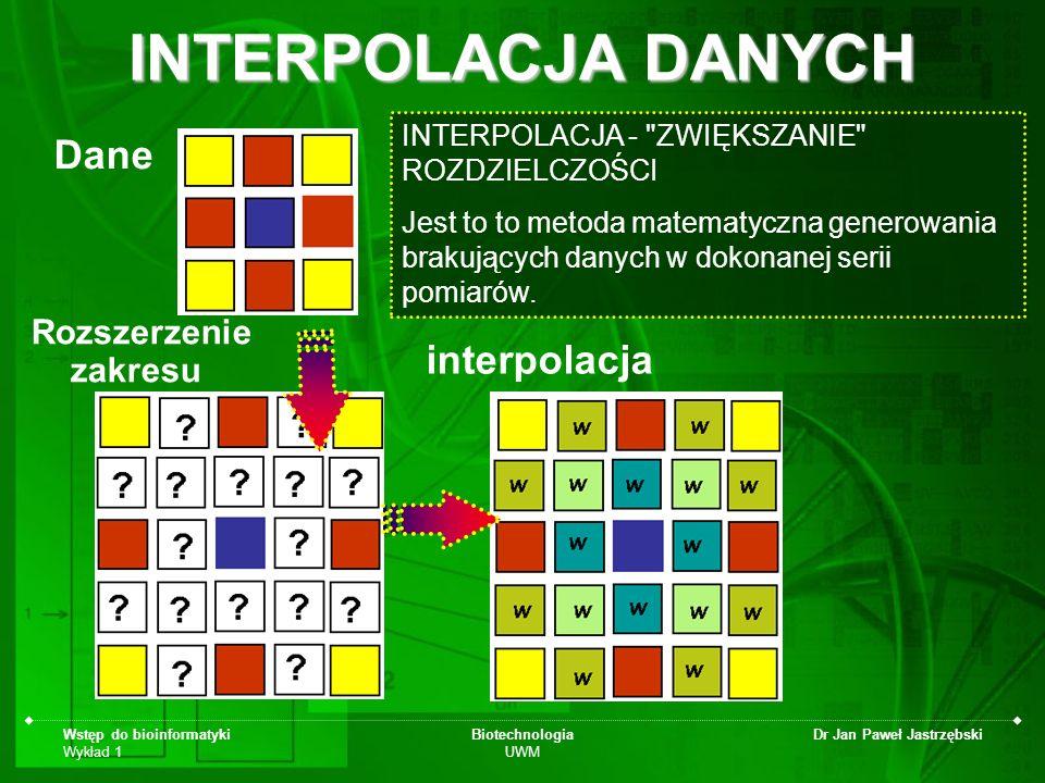 Wstęp do bioinformatyki Wykład 1 Biotechnologia UWM Dr Jan Paweł Jastrzębski INTERPOLACJA DANYCH Dane Rozszerzenie zakresu interpolacja INTERPOLACJA -