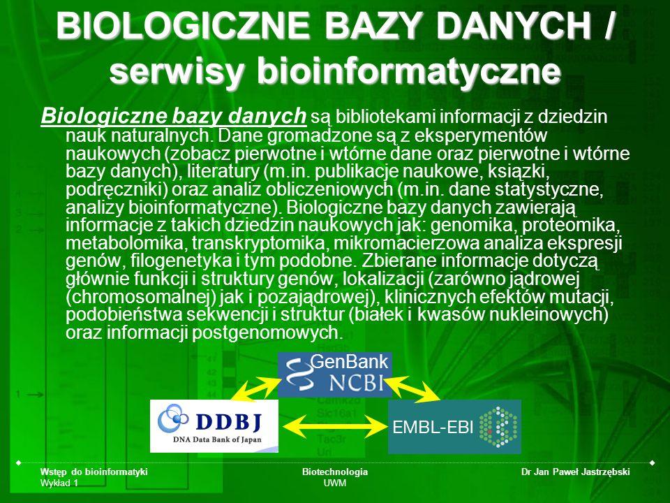 Wstęp do bioinformatyki Wykład 1 Biotechnologia UWM Dr Jan Paweł Jastrzębski BIOLOGICZNE BAZY DANYCH / serwisy bioinformatyczne Biologiczne bazy danyc