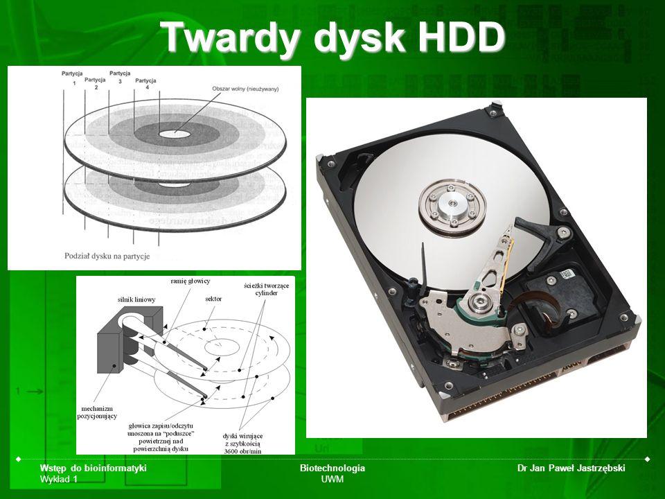 Wstęp do bioinformatyki Wykład 1 Biotechnologia UWM Dr Jan Paweł Jastrzębski Twardy dysk HDD