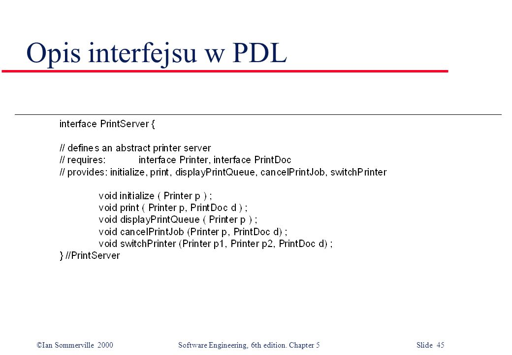 ©Ian Sommerville 2000 Software Engineering, 6th edition. Chapter 5 Slide 45 Opis interfejsu w PDL