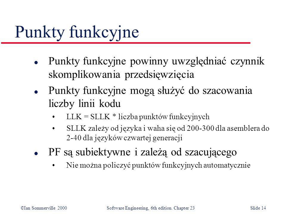 ©Ian Sommerville 2000Software Engineering, 6th edition. Chapter 23Slide 14 Punkty funkcyjne l Punkty funkcyjne powinny uwzględniać czynnik skomplikowa