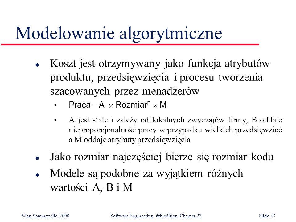 ©Ian Sommerville 2000Software Engineering, 6th edition. Chapter 23Slide 33 Modelowanie algorytmiczne l Koszt jest otrzymywany jako funkcja atrybutów p