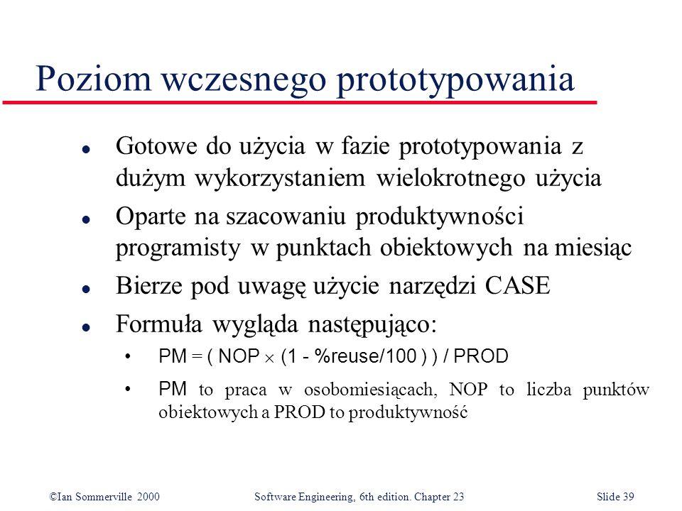 ©Ian Sommerville 2000Software Engineering, 6th edition. Chapter 23Slide 39 Poziom wczesnego prototypowania l Gotowe do użycia w fazie prototypowania z