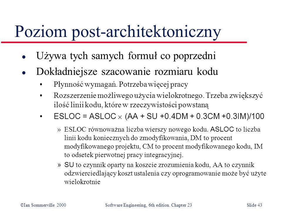 ©Ian Sommerville 2000Software Engineering, 6th edition. Chapter 23Slide 43 Poziom post-architektoniczny l Używa tych samych formuł co poprzedni l Dokł