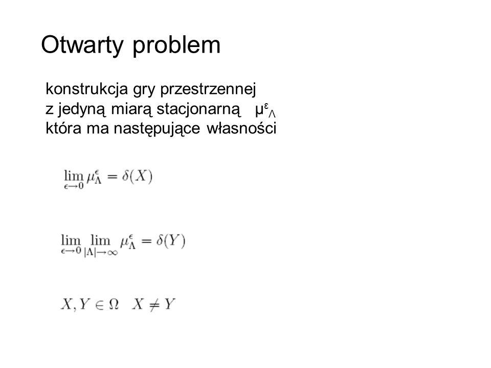 Otwarty problem konstrukcja gry przestrzennej z jedyną miarą stacjonarną μ ε Λ która ma następujące własności