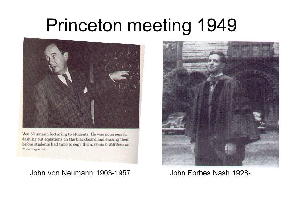 Princeton meeting 1949 John von Neumann 1903-1957John Forbes Nash 1928-